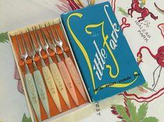 Vintage Florida little forks set of 6 1960s pink by 3floridagirls