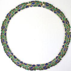 Trifari 'Modern Mosaics' Emerald and Sapphire Poured Glass Choker Necklace