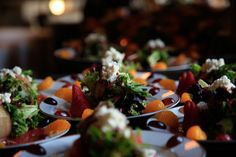 Baby greens wrapped in cucumber strips with mandarin oranges and fresh berries. Crumbled feta, sugared walnuts and raspberry vinaigrette. #salad #plated #weddingreception