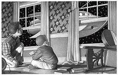 Zathura artwork showing two boys sitting on their living room floor looking out a window at a spaceship