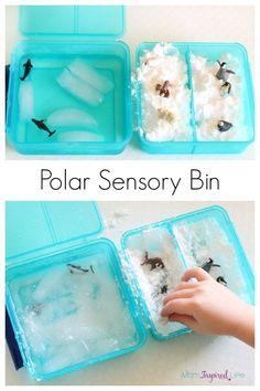 Polar sensory bin. A fun winter activity for kids. Plus, a fake snow ice recipe.