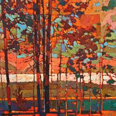 Paintings by Bob Kebic at White Rock Gallery Contemporary Abstract Art, Contemporary Landscape, Abstract Landscape, Landscape Paintings, Impressionist Art, Wow Art, Painting Prints, Painting Trees, Canadian Artists
