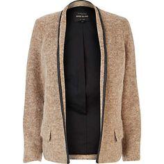 Beige contrast trim smart jacket $90.00