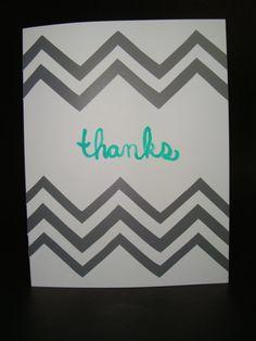thanks chevron card by JellybeanArtCards on Etsy