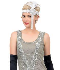 1920s Style Grey & Silver Sequin Hand Beaded Zelda Flapper Short Dress