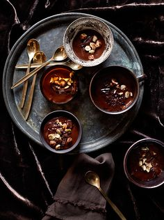 chocolate puddings. pinned less for the food and more for the styling: black food is often fascinating