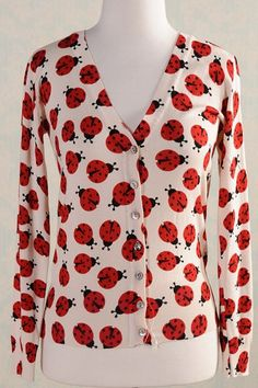 Ladybug Printed Cotton Cardigan OASAP.com You don't even understand how BAD i want this.