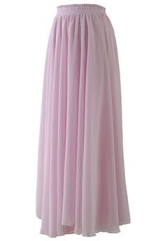 Light Pink Long Maxi Skirt - Retro, Indie and Unique Fashion