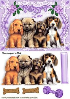 CUTE PUPPIES WITH PUPPY LOVE IN A FRAME on Craftsuprint - Add To Basket!