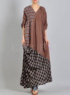 Shop Vintage Plaid Ruffled Splicing Maxi Dress at EZPOPSY. Ugly Dresses, Linen Dresses, Women's Dresses, Advanced Style, Lovely Dresses, Hijab Fashion, Dresses Online, Fashion Online, Plaid