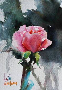 Художник La Fe. Нежная акварель: розы