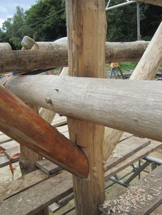 Roundwood timber wind braces in place