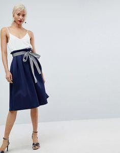 ASOS Scuba Midi Prom Skirt with Stripe Belt Detail - Navy