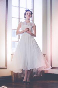 tea length swiss dot wedding dress