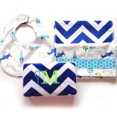 Custom baby shower gift for baby boy - bib burp cloth monogrammed wipe case chevron www.dotdotbaby.com #dotdotbaby #babygifts #babyboy #babyshower #etsy #