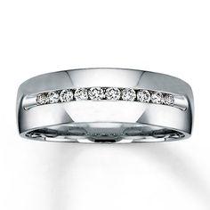 What I like for him: Mens Diamond Ring Round-cut  14K White Gold