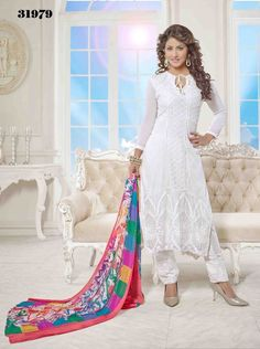 White Party Wear Embroidery Work indian Chiffon Salwar Kameez Suit #SareeStudio #SalwarStyle #PartyWear