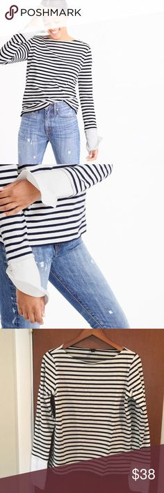 JCREW Striped Boatneck Tee with Built-in Cuffs Worn only once - perfect piece to wear on weekends.  Cotton.  Machine wash. J. Crew Tops Tees - Long Sleeve