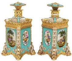 Hiram To - A Pair Of Jacob Petit Porcelain Blue-ground Scent-bottles And Stoppers