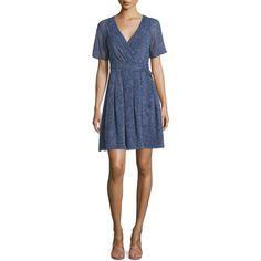 Diane von Furstenberg Katina Silk Dream Dot Wrap Dress ($420) ❤ liked on Polyvore featuring dresses, dream dot midnigh, silk wrap dress, pleated a line dress, short sleeve dress, wrap dress and short sleeve a line dress
