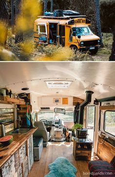 Van Life Discover 30 Of The Most Epic Bus And Van Conversions Complete with ovens closets beds and fold-out desks these converted mobile dwellings may inspire you to Marie Kondo your life and take a journey of your own. Fold Out Desk, School Bus Tiny House, Kombi Home, Bus Living, Camper Van Conversion Diy, School Bus Conversion, Van Conversion Interior, Conversion Van Update, Vw Conversions