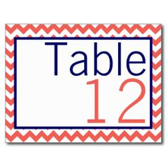 Table Number Card Coral Navy Blue Chevron Name Post Card- but in navy and orange