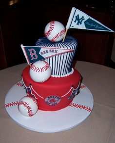 This cake was for a wedding rehearsal dinner. The groom is a Res Sox fan and the bride is a Yankees fan, so they came up with this idea for a fun cake. I used edible images for the logos/flags. The baseballs are fondant covered styro balls. I would have liked to make them edible,  but I wanted them to be perfectly round and I didn't really have time since I had their wedding cake to work on.