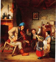 """Fiddler and Boy Doing Jig"" by Cornelius Krieghoff (Dutch-born Canadian painter, Canadian Painters, Canadian Artists, Art Gallery, Fur Trade, Cornelius, Historical Art, Oil Painting Reproductions, Mountain Man, Paintings For Sale"
