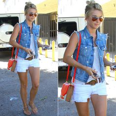 Julianne Hough in a denim vest and colorblock bag