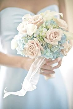 This is the bouquet I want! pale blue hydrangea and blue and cream rose bouquet