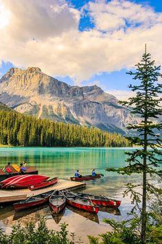 Canoes on Emerald Lake (Yoho, BC) by Sarah Verkaik / 500px