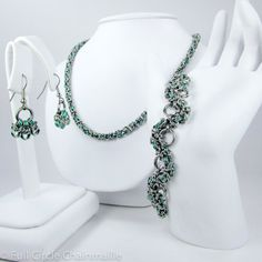 Green Chainmaille Jewelry Set - Necklace, Bracelet,  Earrings