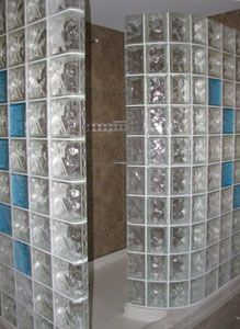 Love a glass block shower!