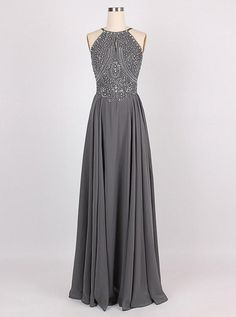 2018 Amazing A-line Halter Floor-Length Charcoal Grey Bridesmaid Dress  Chiffon Sleeveless Beaded Backless Grey Prom Dress Evening Gowns 673c498455a3