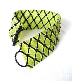 Chartreuse and Black Cuff – Beaded Bracelet in Lime Green / Tender Shoots with Geometric Pattern and Swarovski Crystals