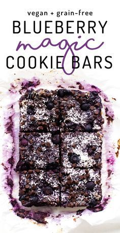 Sweet blueberries give these vegan and paleo magic cookie bars a pop of purple and extra fruit flavor, while banana keeps them easy, healthy, and refined sugar-free!