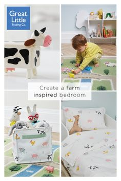 Our adorable farmyard inspired collection for children's bedrooms combines soft pastel shades and sweet animal illustrations. Boys Farm Bedroom, Boy Toddler Bedroom, Big Boy Bedrooms, Toddler Rooms, Boy Room, Bedroom Themes, Nursery Themes, Animal Inspired Nursery, Animal Bedroom