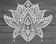 "Items similar to Stencil Mylar re-usable shabby chic vintage LOTUS MANDALA 310 mm x 280 mm on Etsy Snuggle Bunny Easter Shirt + SVG File- Make this adorable ""Snuggle Bunny"" Easter shirt with the new Fresh Cut Spring SVG Bundle! Mandala Art, Flower Mandala Tattoo, Mandala Motif, Mandalas Painting, Mandala Stencils, Mandalas Drawing, Stencil Patterns, Mandala Tattoo Design, Stencil Designs"