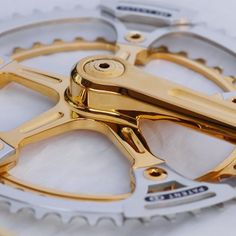 """""""ICS Zurich gold plated and re-worked Super Record Campagnolo. Completed with the external patented ICS chain guides. The matching front…"""""""