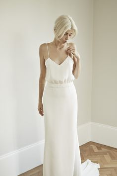 Charlotte Simpson spaghetti strap wedding dress with embroidered belt and train