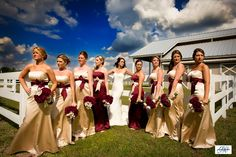 champagne colored bridesmaid dresses will be pretty with forest green instead of the cranberry color.