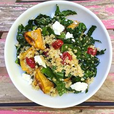 Roasted Sweet Potatoes with Quinoa, Kale, Dried Cranberries, and Feta  Feta and dried cranberries take healthy ingredients like quinoa and kale from ho-hum to hell yeah.  Get the recipe: Roasted Sweet Potatoes with Quinoa, Kale, Dried Cranberries, and Feta