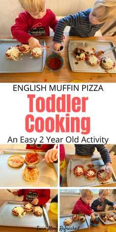 English muffin pizzas are an easy recipe for toddlers to help make. Add your favorite healthy toppings to this simple recipe for toddlers and kids. A fun way to eat pizza for lunch or dinners! dinner recipes for kids English Muffin Pizza Toddler Recipe Kids Cooking Recipes, Fun Easy Recipes, Cooking With Kids, Pizza Recipes, Baby Food Recipes, Snack Recipes, Fun Cooking, Kid Recipes, Simple Recipes For Kids