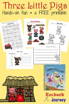 Here's a fun collection of hands-on activities and a FREE K-2 printable for The Three Little Pigs.   embarkonthejourney.com