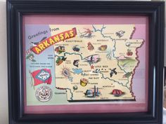 A personal favorite from my Etsy shop https://www.etsy.com/listing/502559168/8-x-10-framed-arkansas-vintage-map