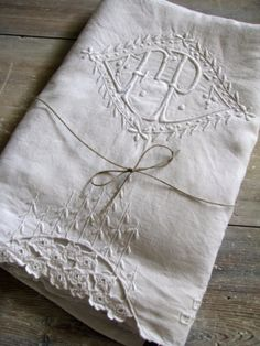 French Linen Monogrammed Sheet