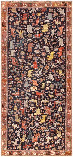 18th Century Caucasian Rug with Animal Design 48413 18th century caucasian rug with animal design 48413 detail