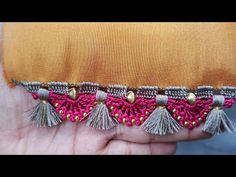 Saree kuchu / bridal Saree kuchu-tassel // how to make bridal Saree kuchu design //Siri creatio Saree Tassels Designs, Saree Kuchu Designs, Blouse Designs, Hand Embroidery, Embroidery Designs, Tatting Necklace, Designer Socks, Siri, Chrochet