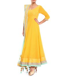 Yellow & Sea Green Sequined Georgette Anarkali