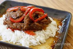 Pepper Steak Recipe Main Dishes with fat, top round steak, soy sauce, rice wine, corn starch, vegetable oil, onions, bell pepper, black pepper, crushed red pepper flakes